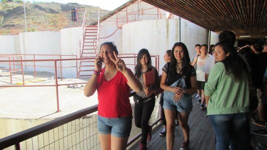 Los jóvenes de segundo medio en la Pisquera Capel.
